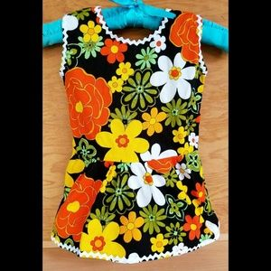 Vintage 60s Mod Floral Backcloth Girls Dress Tunic